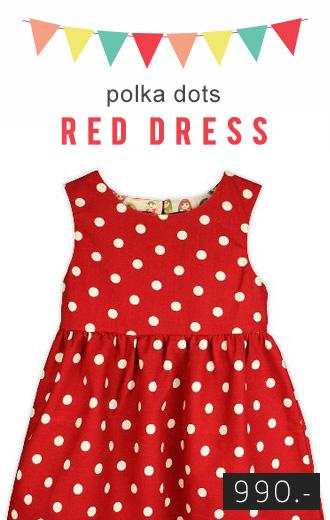 ชุดเดรสผีเสื้อเว้าหลังลายจุดสีแดง