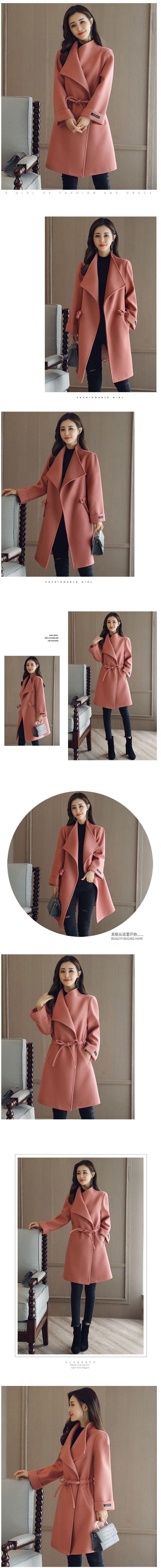 เสื้อโค้ทสูทคลุมยาวเอวผูกฉบับเกาหลี