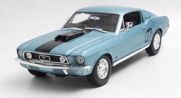 โมเดลรถ โมเดลรถเหล็ก โมเดลรถยนต์ Ford Mustang GT Jet 1968 ฟ้า