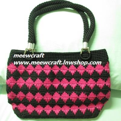 กระเป๋าถือเชือกร่ม รหัส90-005 ก้นกระเป๋า 10x27ซม. สูง 24ซม.