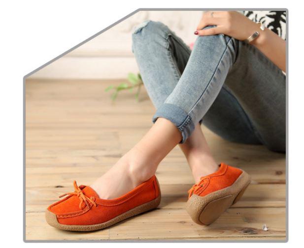 รองเท้าผู้หญิง หุ้มส้น ส้นแบน รองเท้าหนังแท้ ผู้หญิง รองเท้าคัทชู ใส่สบาย ดีไซน์ หนังแท้ มีเชือกผูก ใส่ทำงาน ใส่เที่ยว สีส้ม จี๊ด 40782_4