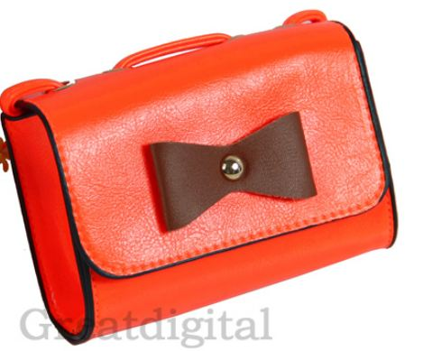 กระเป๋าสะพายข้างผู้หญิง ขนาดเล็ก เหมาะสำหรับ ใส่โทรศัพท์ หรือ กระเป๋าสตางค์ ไม่เทอะทะ ดูแลง่าย สำหรับวันไปเที่ยว แต่งโบว์ สีส้ม no 80266_3