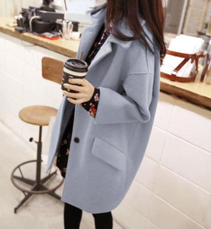 เสื้อโค้ทกันหนาว ทรงเก๋ ไม่เหมือนใคร สีฟ้าอ่อน ผ้าสำลี มีซับใน พร้อมส่ง