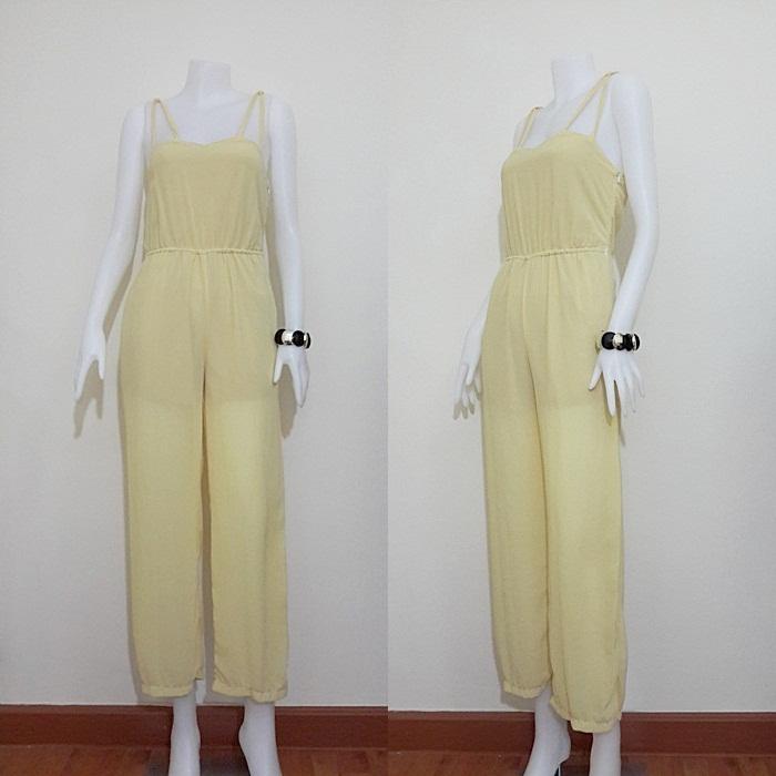 jumpsuit422 จัมพ์สูทแฟชั่นขายาวสายเดี่ยวผ้าชีฟองสีเหลืองพาสเทล