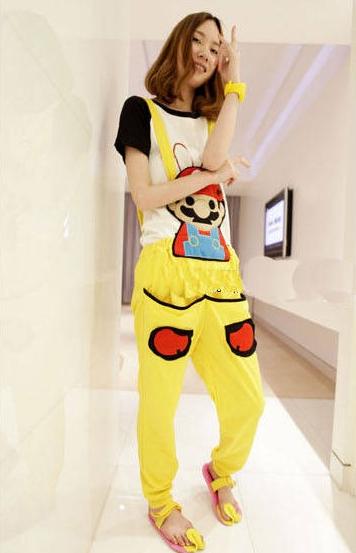 ชุดเอี๊ยม สีเหลือง jumpsuit Super Mario เอวยืด พร้อมสายเอี๊ยมแบบถอดได้ น่ารักมากๆ