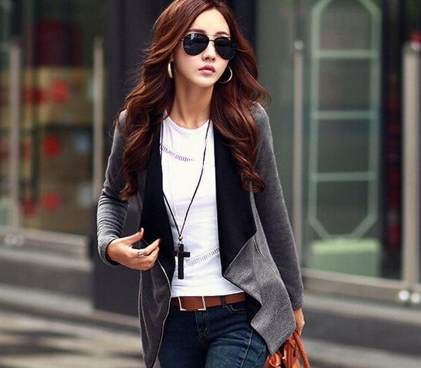เสื้อ Jacket เสื้อคลุมผู้หญิง แขนยาว ดีไซน์ 2 สี ด้านนอก สีเทา ด้านใน สีดำ ดีไซน์ ซิป สามารถ เปลี่ยนแบบ เป็น เสื้อยืด ได้ เก๋ ๆ ค่ะ 397005