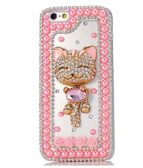 เคส iPhone 6 4.7 นิ้ว เคส Diy 3 มิติ แต่ง คริสตัล แมว แสนซน โทนสีชมพู แต่งมุก ชมพู รอบกรอบ แต่ง ดอกกุหลาบ หวาน ๆ 454079_6