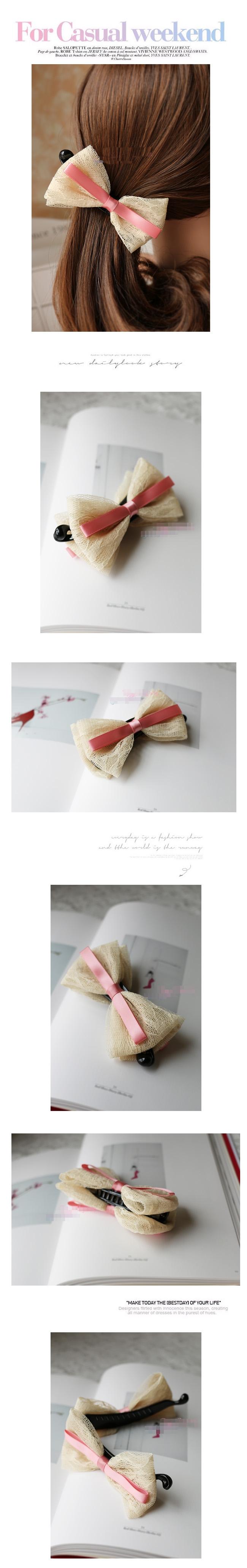 กิ๊บกล้วยโบว์ผ้าลูกไม้ไม้สีครีมแต่งโบว์ชมพูสไตล์ญี่ปุ่น