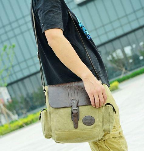 กระเป๋าสะพายข้าง กระเป๋า ผ้าแคนวาส หรือ ผ้ายีนส์ ผสม หนังแท้ ใส่ ipad ได้ กระเป๋าสะพายผู้หญิง ผู้ชาย สีน้ำตาล กากี สีขายดี 2047234_2