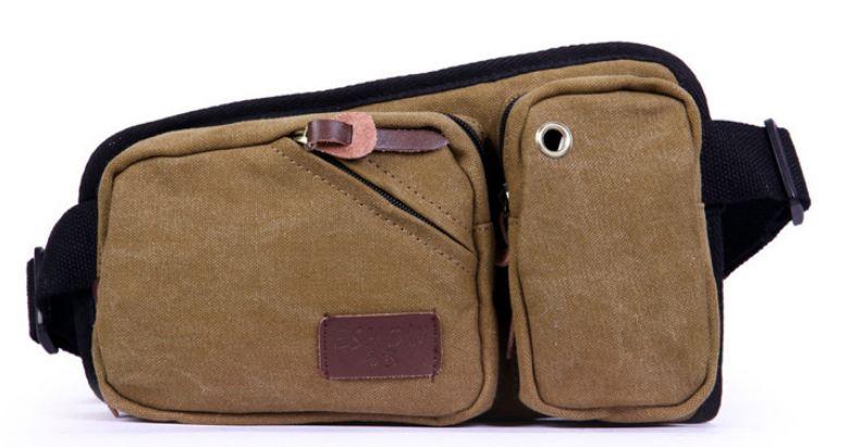 กระเป๋าคาดเอว ผู้ชาย ผ้าแคนวาส อย่างหนา สีน้ำตาล สะดวกสบาย สวย เท่ ใส่โทรศัพท์ได้ ของขวัญให้แฟน สุดเก๋ 708636_1