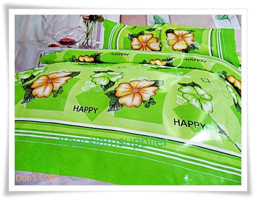 3.5 ฟุต 3 ชิ้น ชุดเครื่องนอน ผ้าปูที่นอน สีเขียวลายดอกไม้