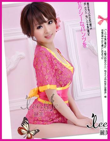 กิมโมโน สีชมพูเข้ม แถบผ้าสีเหลือง น่ารักสดใส