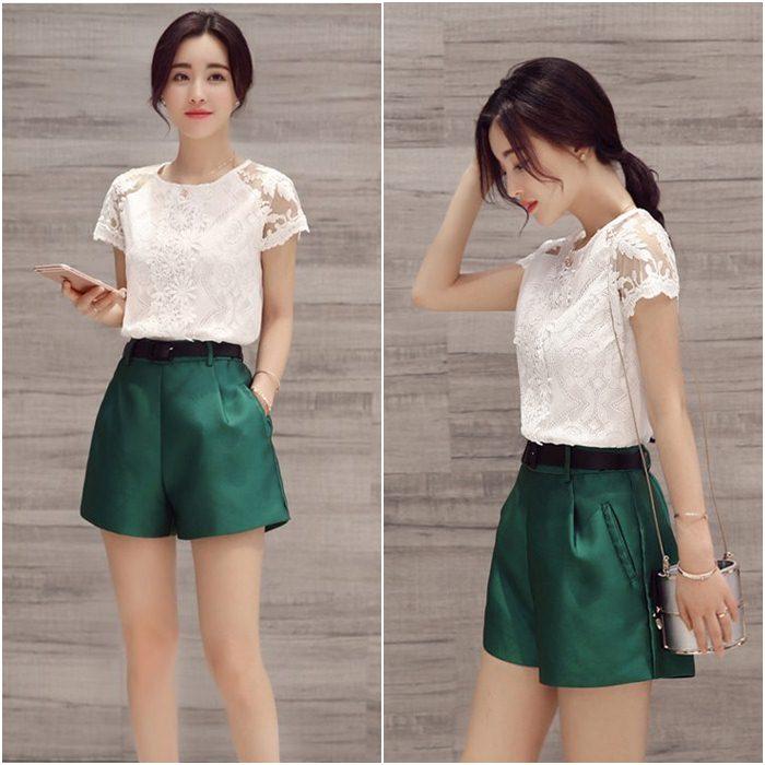 **สินค้าหมด Set_bp1543 ชุด 2 ชิ้น(เสื้อ+กางเกง)แยกชิ้น เสื้อลูกไม้เนื้อนิ่มสีขาว+กางเกงขาสั้นซิปข้างสีพื้นเขียวผ้าเนื้อดีหนาสวย งานน่ารักใส่เก๋ๆ ได้บ่อย แยกใส่กับตัวอื่นก็สวยจ้า