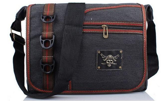 กระเป๋าสะพายข้าง กระเป๋า ผ้าแคนวาส ผ้ายีนส์ ใบใหญ่ ใส่ Ipad ได้ กระเป๋า ผ้ายีนส์ ใส่หนังสือเรียน สไตล์วัยรุ่น มีโลโก้ โจรสลัด เท่ ๆ 163436