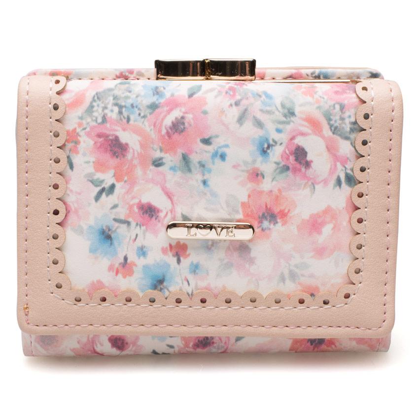 กระเป๋าสตางค์ Samilon สีขาวลายดอกไม้ ขนาดเล็ก