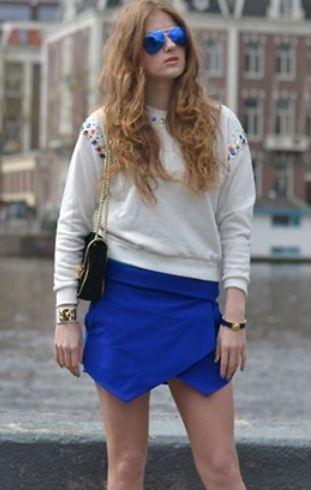 กางเกงขาสั้นผู้หญิง กางเกง กระโปรง สีน้ำเงิน แฟชั่น มินิ Skirt แบบ มีดีไซน์ ด้านหน้า เป็นผ้าปิด เป็น กระโปรงสั้น แบบสวย แฟชั่น ยุโรป 31853_2