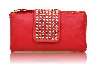 กระเป๋าสตางค์ผู้หญิง กระเป๋าสตางค์แบบสาวร๊อค หนังนิ่ม สีแดง ใส่โทรศัพท์ได้