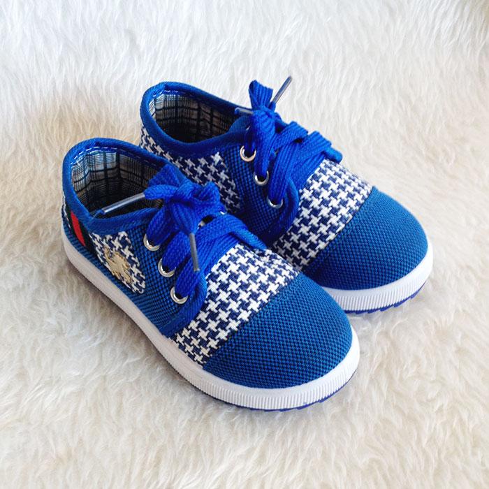 รองเท้าคัชชูผ้า แฟชั่นเด็กชาย สีน้ำเงิน Size 27-32