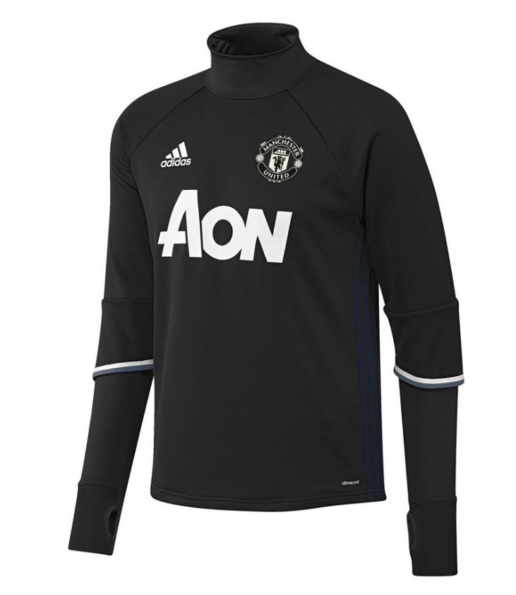 เสื้ออดิดาสแมนเชสเตอร์ ยูไนเต็ด เสื้อเทรนนิ่งท็อปสีดำของแท้