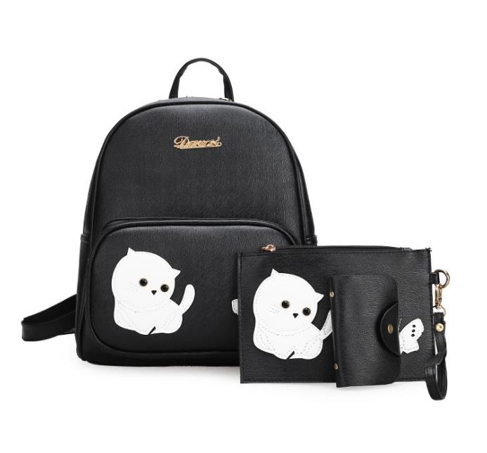 [ พร้อมส่ง ] - กระเป๋าเป้แฟชั่น Set 3 ชิ้น สุดคุ้ม สีดำคลาสสิค ตกแต่งน้องแมวน้อย ดีไซน์สวยเก๋ งานหนังคุณภาพอย่างดี น่าใช้มากค่ะ