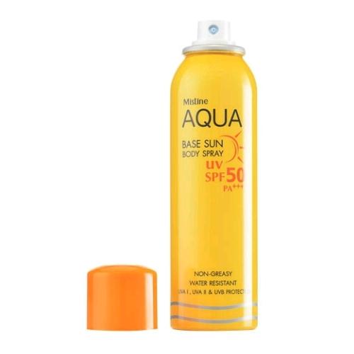 *พร้อมส่ง* Mistine Aqua Base Sun Body Spray SPF 50 PA+++ สเปรย์กันแดดสำหรับผิวกายป้องกันแสงแดดด้วยค่า SPF 50 เท่า และ PA+++ ช่วยปกป้องผิวของคุณไม่ให้ดำคล้ำ และชะลอการเกิดริ้วรอยก่อนวัยอันเนื่องมาจากรังสียูวี