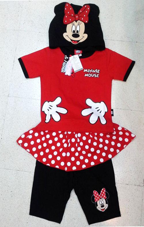 ชุดเด็ก Minnie Mouse เสื้อยืดมีหมวก-กางเกงกระโปรงเลคกิ้ง S M L