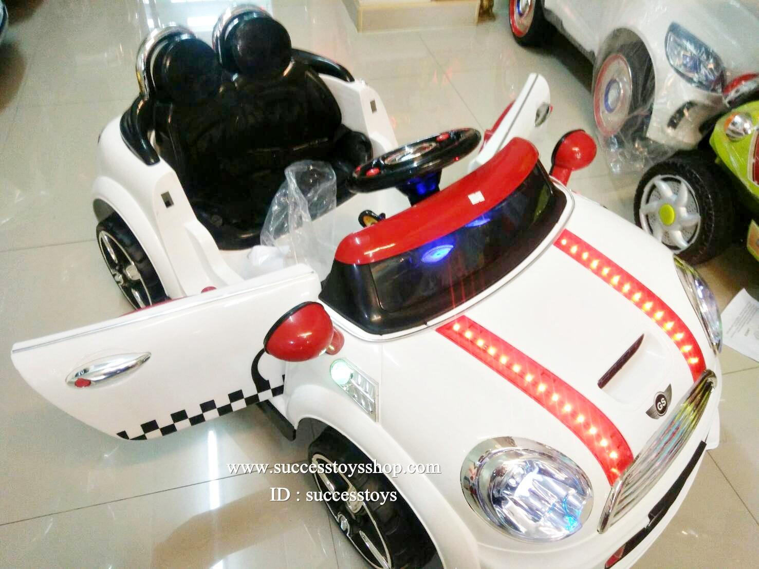 LN5626W รถแบตเตอรี่เด็กนั่ง ยี่ห้อมินิคูเปอร์(ฝากระโปรงมีไฟ) มี 5 สี แดง เหลือง เขียว ชมพู ขาว