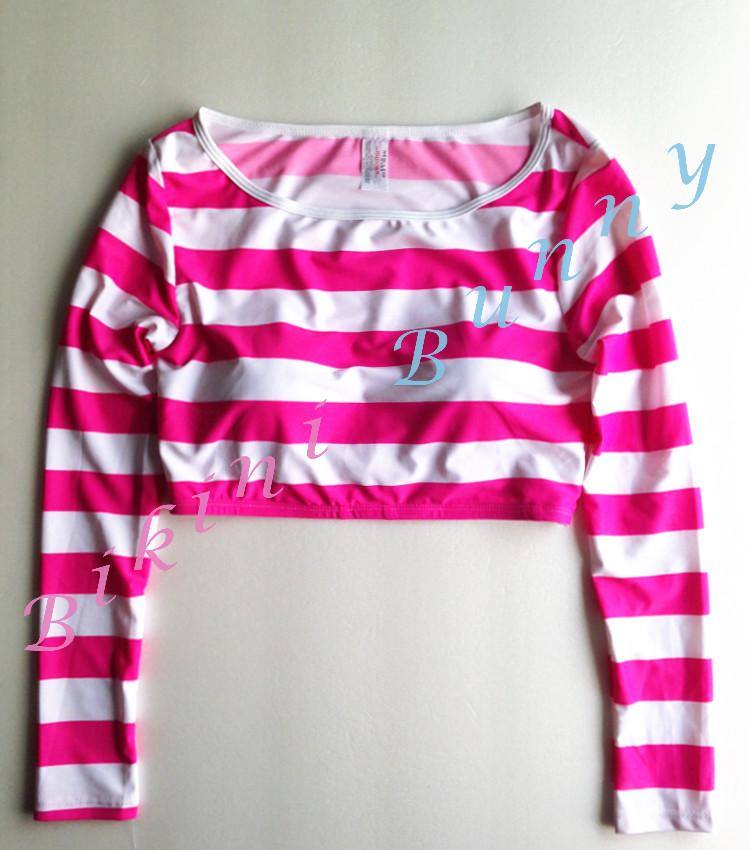 Sale t229 (Size M รอบอก 34-35 นิ้ว) เสื้อว่ายน้ำแขนยาวทรงครึ่งตัว ลายขวางสีขาวชมพู พร้อมส่ง --> New Look