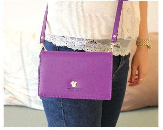 [ พร้อมส่ง ] - กระเป๋าสตางค์แฟชั่น สไตล์เกาหลี สีม่วงสุดชิค ใบยาว แต่งกระรอกน้อย งานสวยน่ารัก น่าใช้มากๆค่ะ