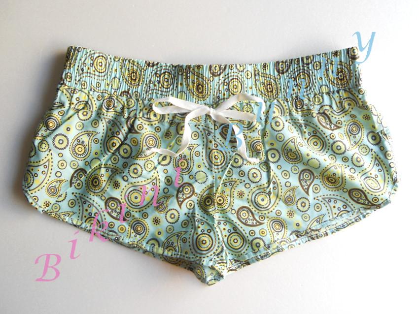 Promotion sh386 กางเกงผ้า cotton ลายสีฟ้าเหลือง พร้อมส่ง Size L --> the sea