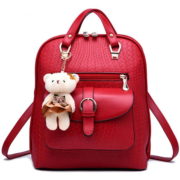 [ Pre-Order ] - กระเป๋าเป้แฟชั่น นำเข้าสไตล์เกาหลี สีแดงเข้ม แต่งหัวเข็มขัดช่องใส่ของด้านหน้า ดีไซน์สวยเก๋ ที่สาวๆ ไม่ควรพลาด