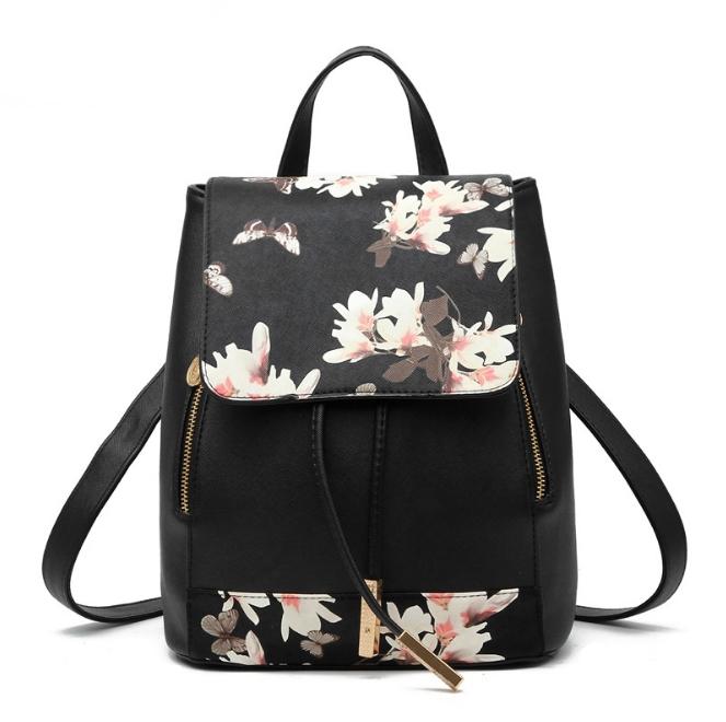 [ ลดราคา ] - กระเป๋าเป้แฟชั่น นำเข้าสไตล์เกาหลี สีดำพิมพ์ลายดอกไม้ ใบกลางๆ ทรงเก๋ ๆ ใบกลางสะพายหลัง หนังคุณภาพสวย น่ารักมากๆค่ะ