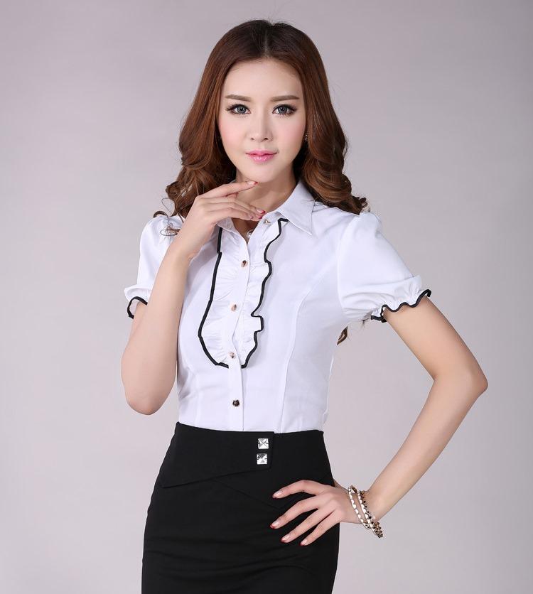 เสื้อเชิ๊ตทำงานแขนสั้นระบายหน้า สีขาว