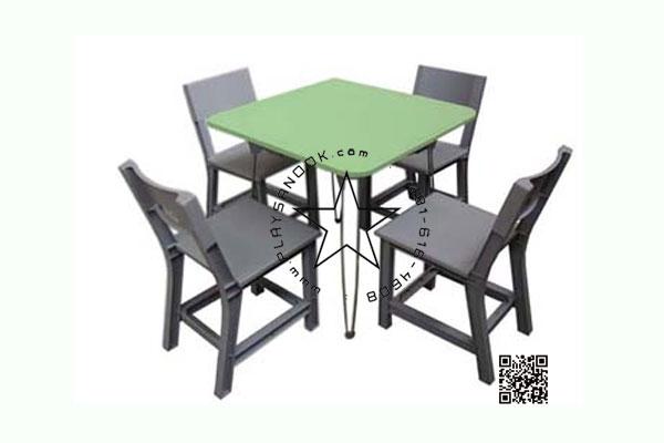 WHR01-02 โต๊ะสี่เหลี่ยม Center พร้อมเก้าอี้ ระดับประถม ( 1 ชุดประกอบด้วย โต๊ะสี 1 ตัว เก้าอี้สีเทา 4 ตัว)