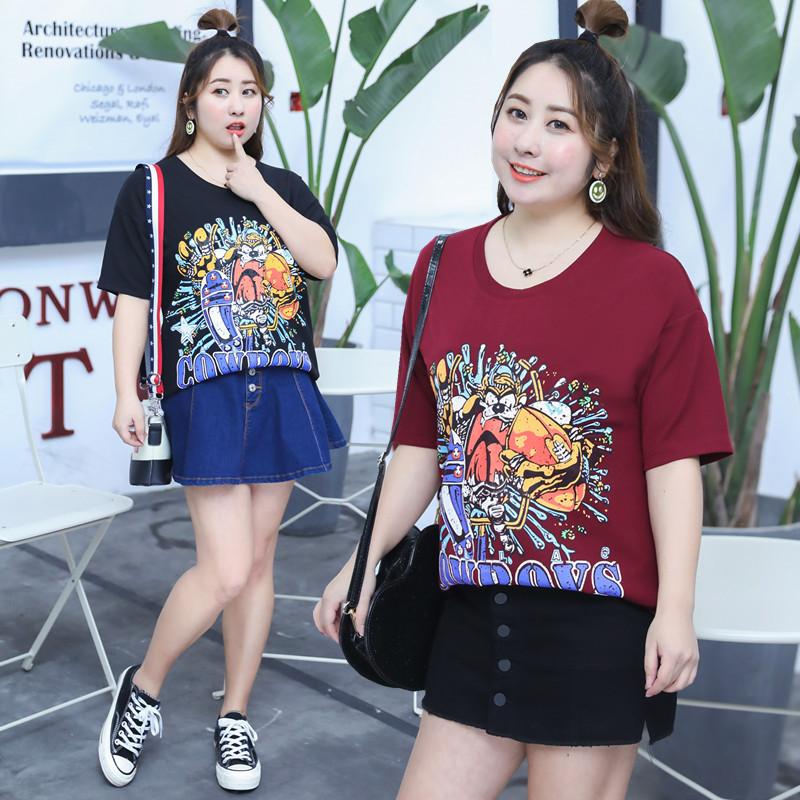 เสื้อยืดคอกลมสำหรับสาวอวบ สกรีนลายการ์ตูนสุดเท่ มี3สี สีขาว/สีดำ/สีแดง (XL,2XL,3XL,4XL) ZX1045