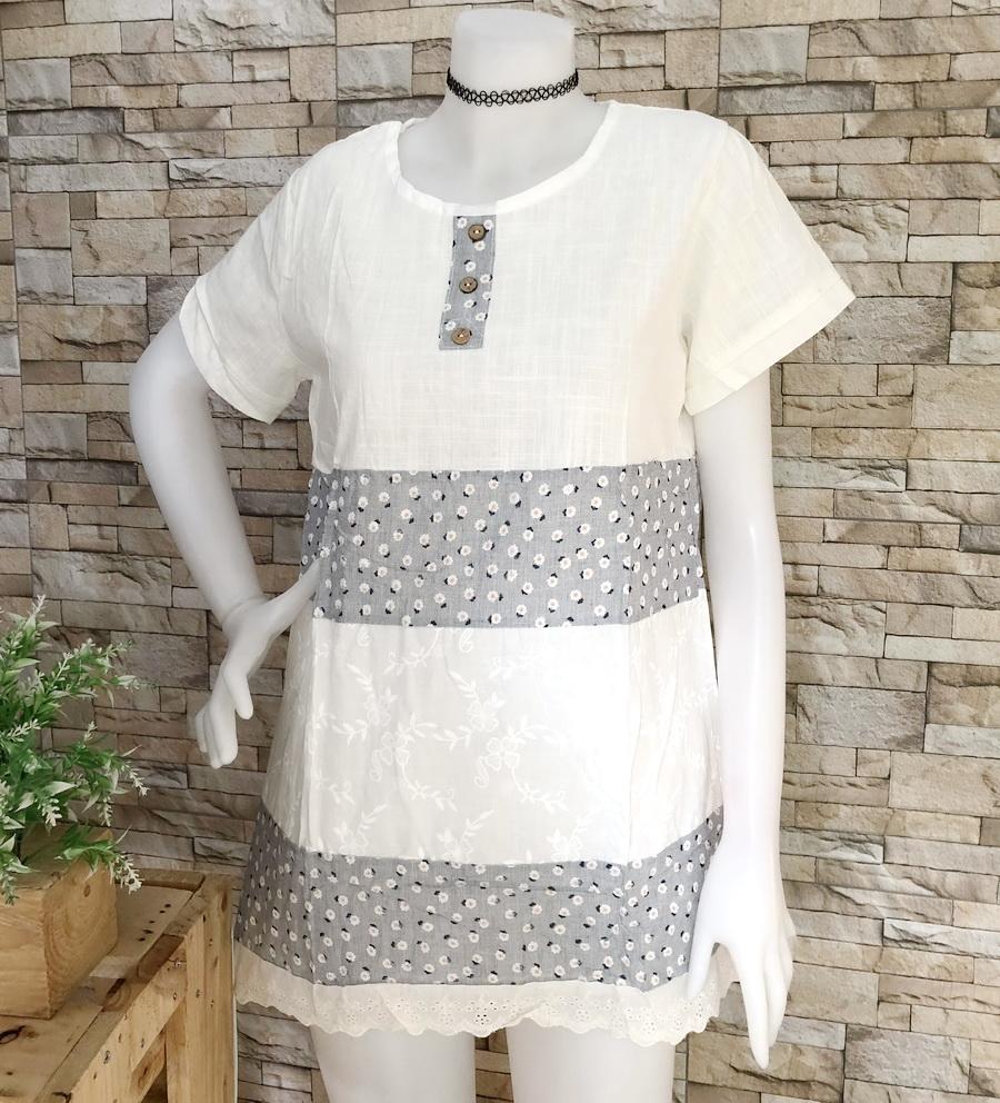 ส่ง:เสื้อผ้าป่านแต่งลายดอกแบบน่ารักต่อปลายลูกไม้ฉลุ/อก37