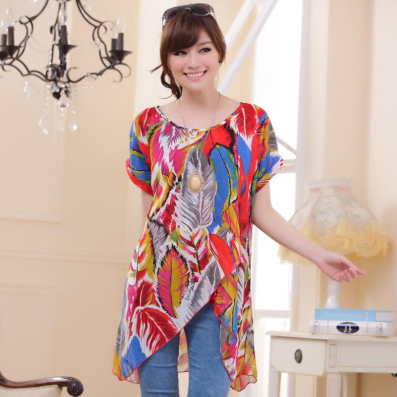 เสื้อชีฟองแขนค้างค้าวพิมพ์ลาย สีแดง/สีม่วง/สีน้ำตาล (XL,2XL,3XL)
