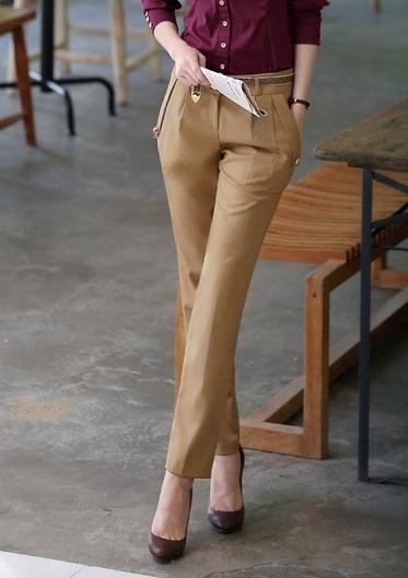 กางเกงทำงานผู้หญิงขายาวแฟชั่น สีน้ำตาล