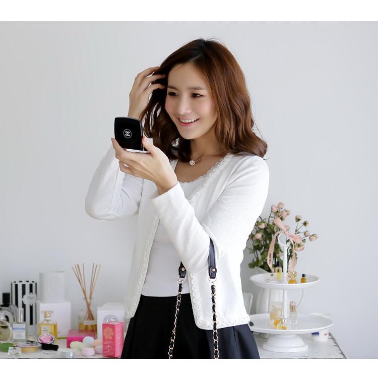 เสื้อคลุมคาร์ดิแกน แขนยาว สีขาว/สีดำ (XL,2XL,3XL)