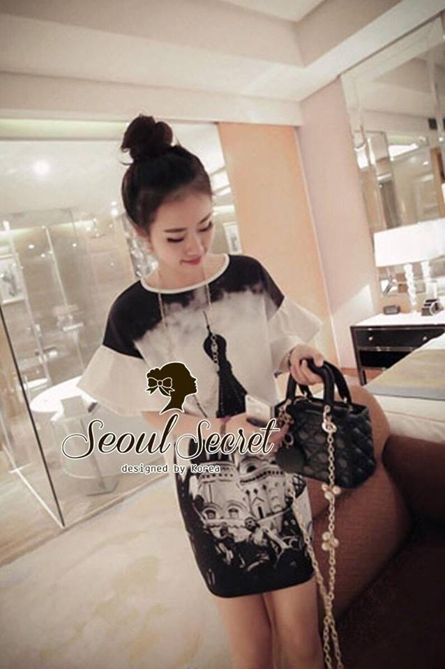 Chic Taj Mahal Black Scale Print Dress by Seoul Secret