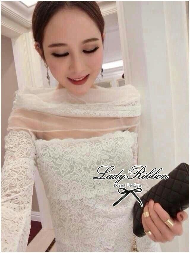 Lady Ribbon's Made Lady Diana Elegant Cut-Off Lace Dress