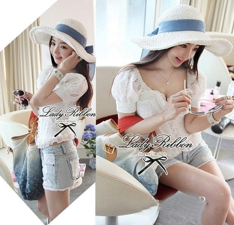 Lady Ribbon's made White Summer Dolly Floral Lace Top