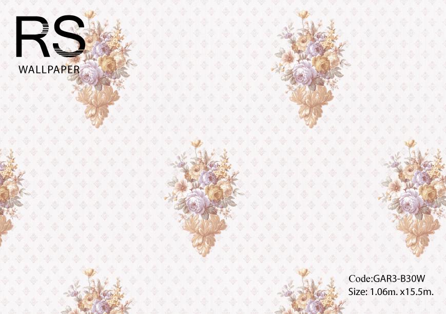 วอลเปเปอร์ลายช่อดอกไม้พื้นมีลายกลีบดอกไม้ออกโทนสีชมพูอ่อน GAR3-B30W