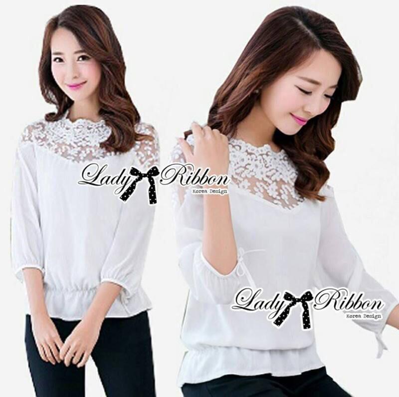 Lady Ribbon's Made Lady Aerin Pretty Insert Lace White Chiffon Blouse