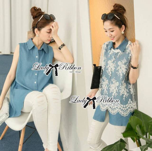 Lady Ribbon's Made Lady Mariam Mix Lace and Cotton Denim Shirt Dress