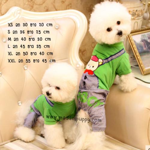 (พร้อมส่ง) ชุดสุนัขสี่ขา สีเขียว ลายคุมะ