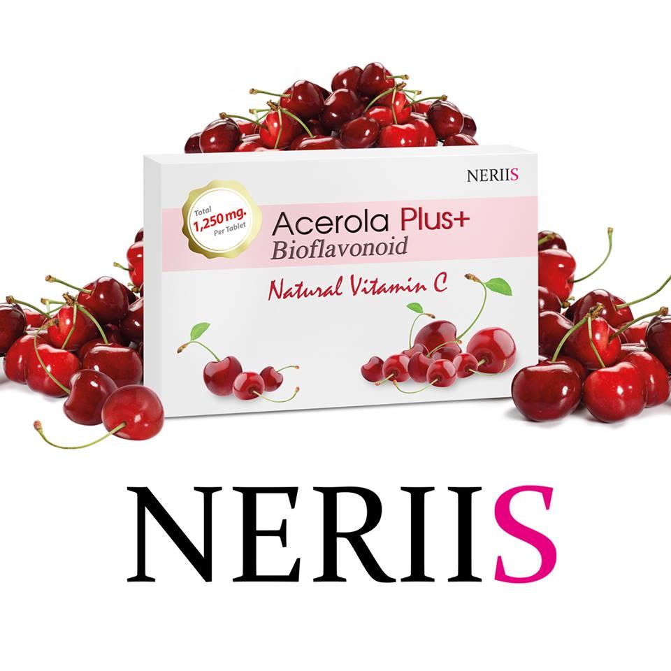 Neriis Acerola Plus+ Bioflavonoid 1,250 mg. เณรี่ส์ อะเซโรลา เชอรี่ และไบโอฟลาโวนอยด์