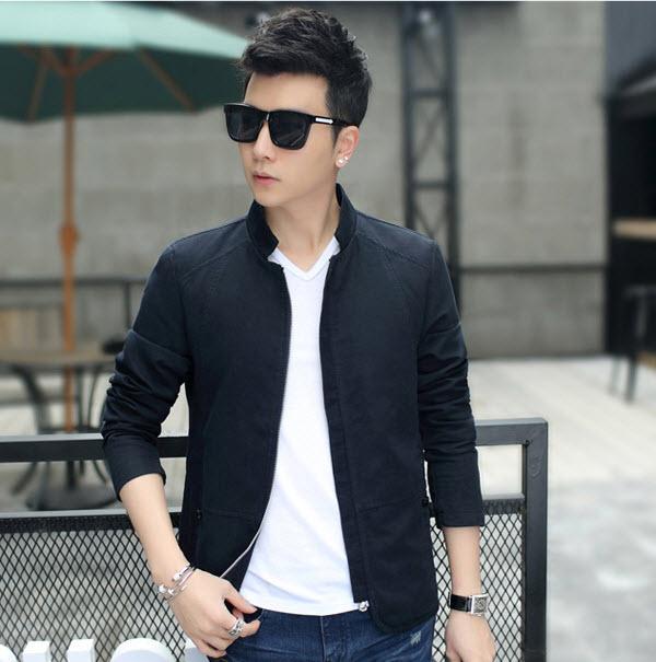 พร้อมส่ง เสื้อแจ็คเก็ต ผู้ชาย สีน้ำเงิน เสื้อคลุม ซิปหน้า คอจีน ซับในพิมพ์ลาย กระเป๋าข้างใช้งา
