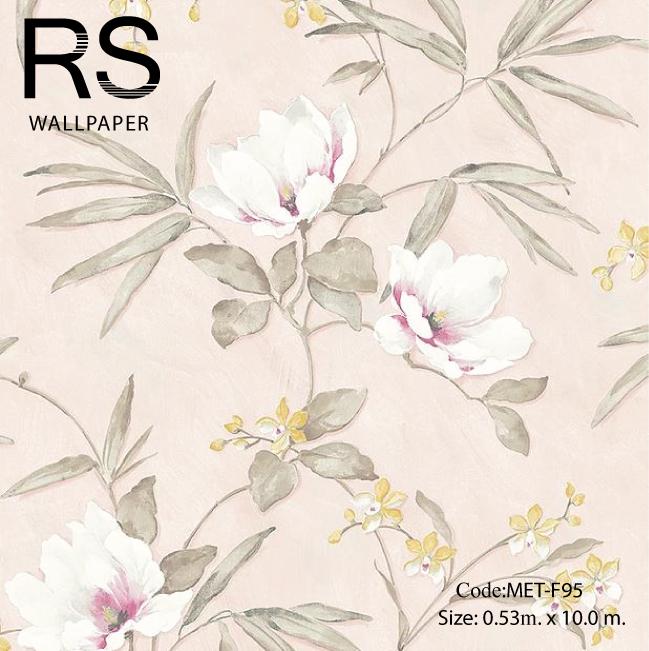 วอลเปเปอร์ลายดอกไม้ภาพวาดโทนสีชมพูอ่อนเหลือง MET-F95