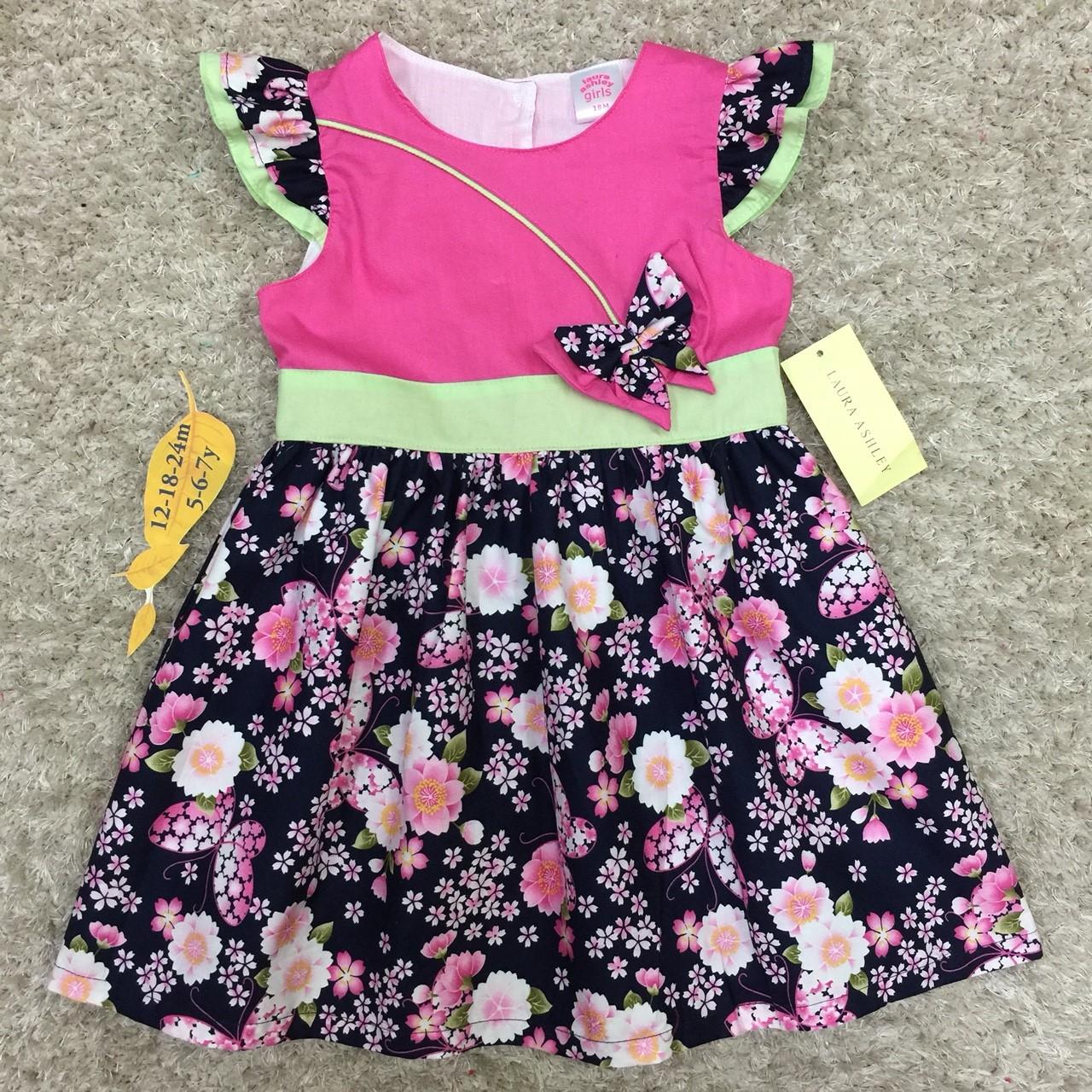 เสื้อผ้าเด็ก 5-7ปี size 5Y-6Y-7Y ลายดอกไม้ แต่งผีเสื้อ สีชมพู/กรมท่า